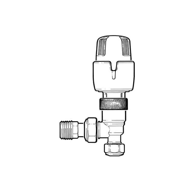 Inta Angled Thermostatic Radiator Valve - 8/10mm