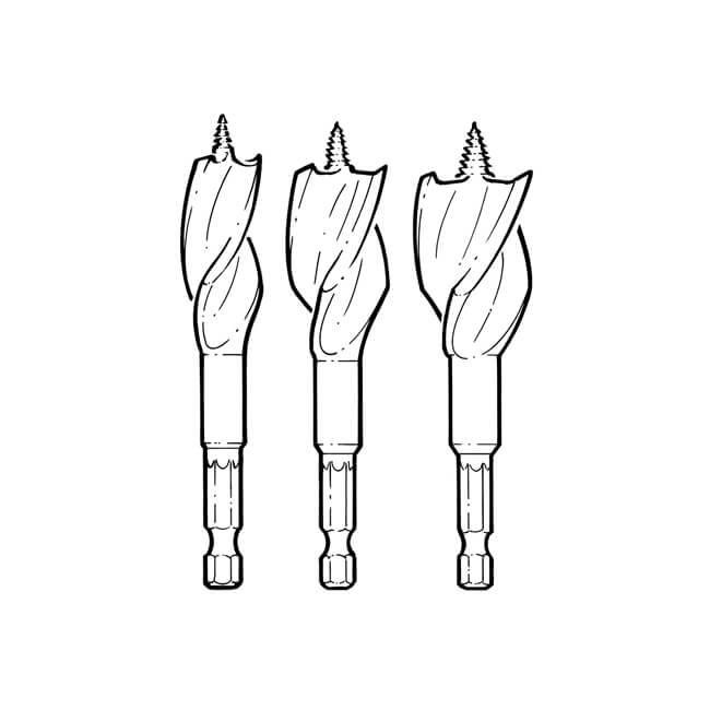 Irwin® Tri-Flute 3 Piece Wood Boring Bit Set