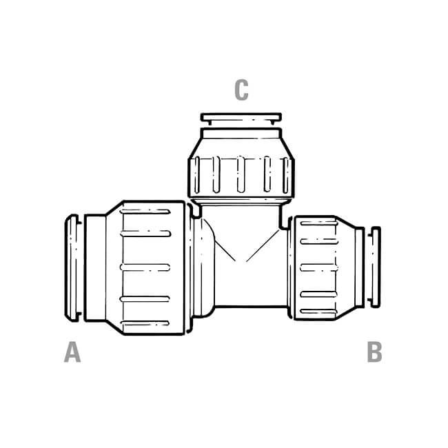 jg speedfit reducing tee - 22mm x 15mm x 15mm - white