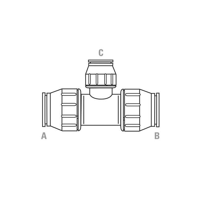 jg speedfit reducing tee - 28mm x 28mm x 10mm - white