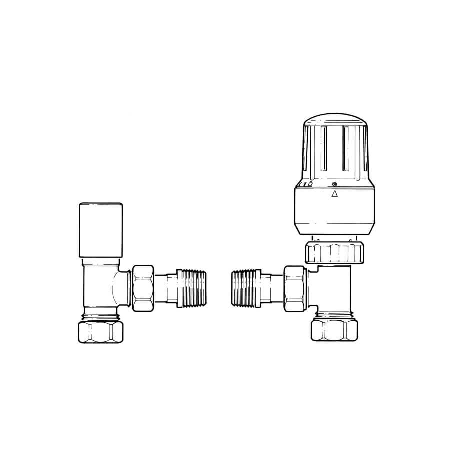 Pegler Mistral II Angled TRV & Lockshield Set - 15mm