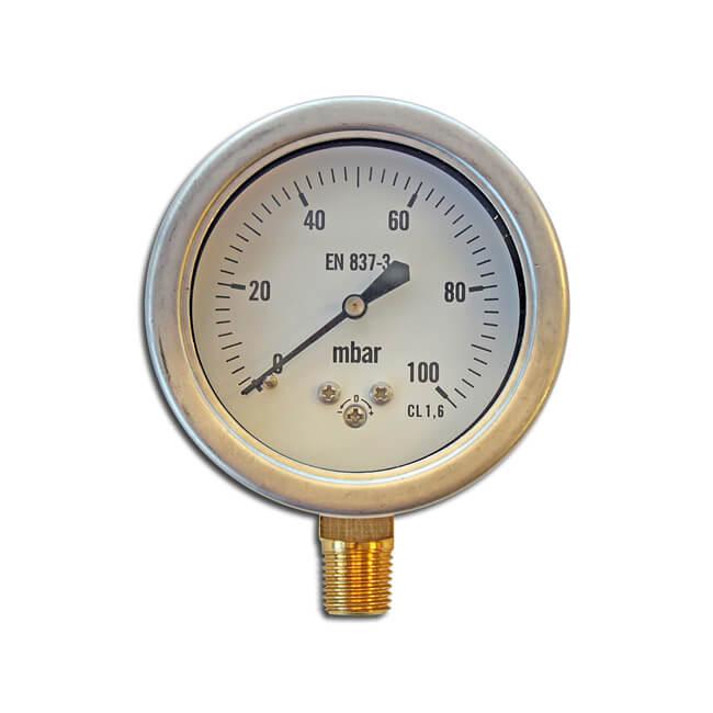 Pressure Gauge - 0 to 100 mbar, 63mm Dial