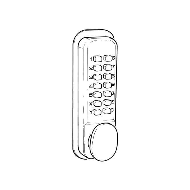 Push-button code lock, BL2000, satin chrome