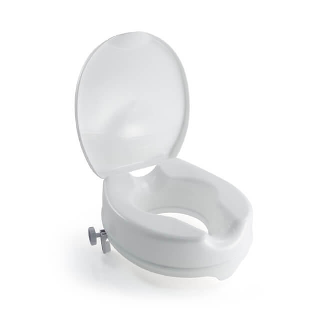 "Raised Toilet Seat - 100mm (4"") Seat with Lid"