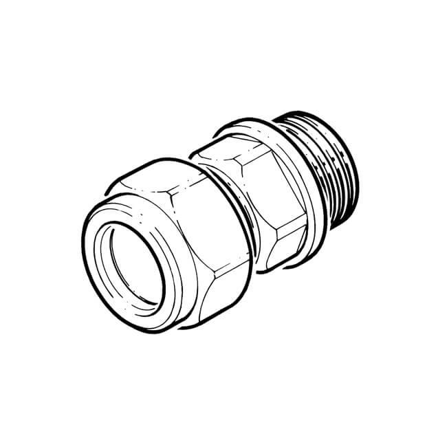 "Straight Adaptor UK Compression - 15mm x 1/4"""