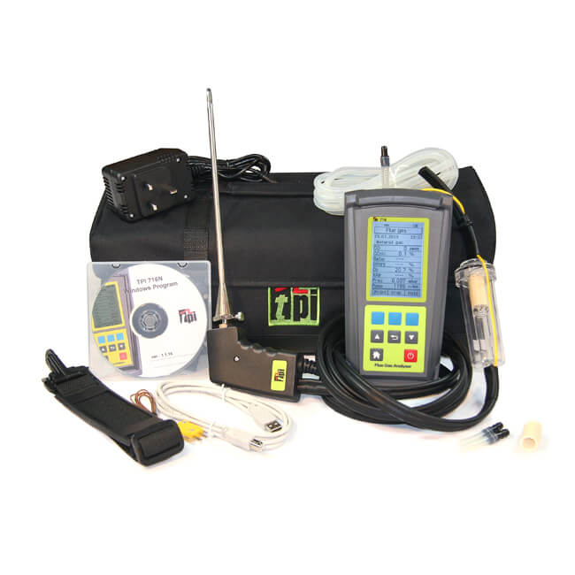 TPI 716 Flue Gas Combustion Efficiency Analyser Kit